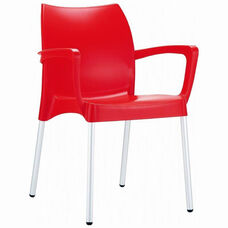 Dolce Outdoor Resin Stackable Arm Chair with Aluminum Legs - Red
