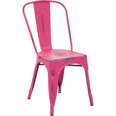 OSP Designs Bristow Stackable Armless Metal Chair - Set of 4 - Antique Pink