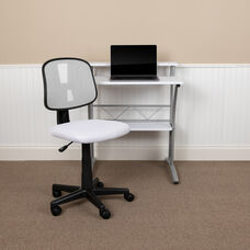Basics Mid-Back Mesh Swivel Task Office Chair with Pivot Back, White, BIFMA Certified