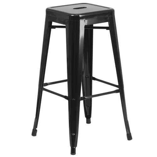 "Our Commercial Grade 30"" High Backless Black Metal Indoor-Outdoor Barstool with Square Seat is on sale now."