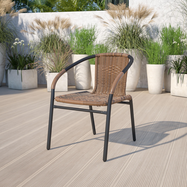 Dark Brown Rattan Indoor Outdoor Restaurant Stack Chair
