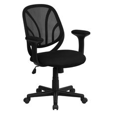 Y-GO Chair™ Mid-Back Black Mesh Swivel Task Chair with Arms
