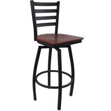 Advantage Ladder Back Metal Swivel Bar Stool - Mahogany Wood Seat