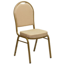 HERCULES Series Dome Back Stacking Banquet Chair in Beige Patterned Fabric - Gold Frame