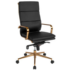 High Back Black Leather Executive Swivel Office Chair with Gold Frame, Synchro-Tilt Mechanism and Arms