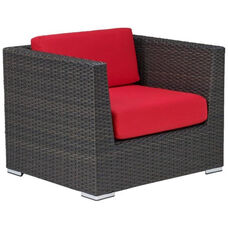 Crystal Beach Collection Outdoor Wicker Arm Chair with Sunbrella Cushions - Indo