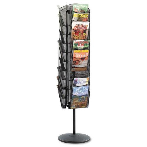 Safco® Onyx Mesh Rotating Magazine Display - 30 Compartments - 16-1/2w x 66h - Black