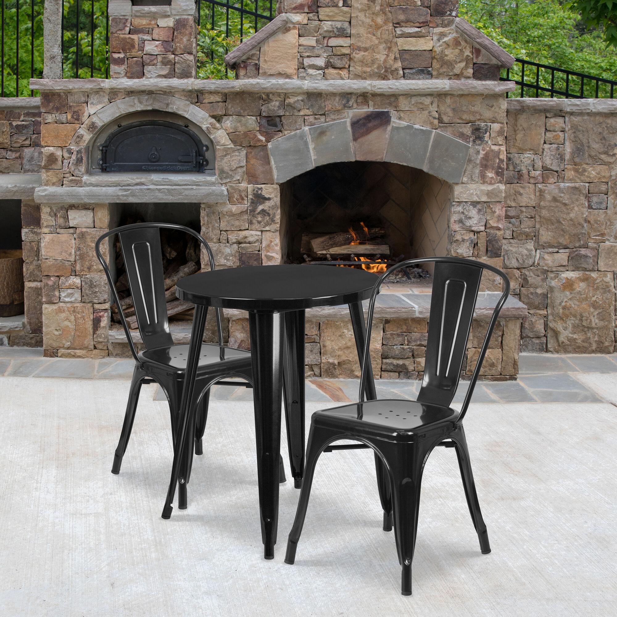 24rd Black Metal Table Set Ch 51080th 2 18cafe Bk Gg Restaurantfurniture4less Com