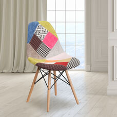 Multi-Color Fabric with Natural Wood finish
