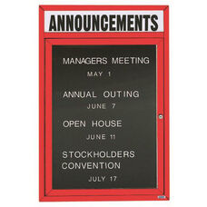 1 Door Indoor Enclosed Directory Board with Header and Red Anodized Aluminum Frame - 24