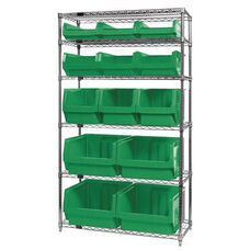 Wire Shelving Unit with 13 Magnum Bins - Green