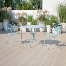 "Commercial Grade 35.25"" Round Sky Blue Indoor-Outdoor Steel Patio Table"
