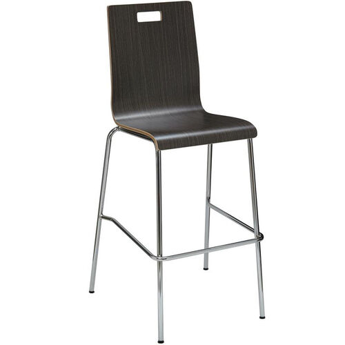 JIVE Series Stacking Bentwood Armless Cafe Barstool with HPL Surface and Silver Steel Frame - Espresso