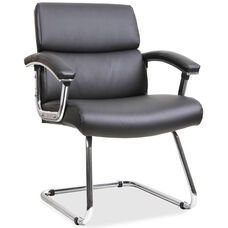 Lorell Guest Chair with Padded Arms and Sled Base - Black Leather
