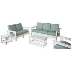 POLYWOOD® Club 5-Piece Deep Seating Group - White / Spa