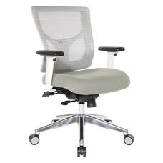 Pro-Line II ProGrid White Mesh Mid Back Office Chair with 2-Way Adjustable Arms - Grey Fabric Seat