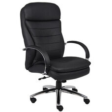 High Back CaressoftPlus™ Executive Chair with Padded Arms - Black