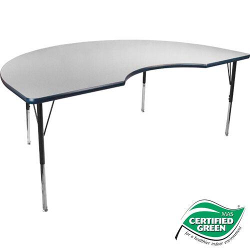 Advantage 48 in. x 72 in. Kidney-shape Adjustable Activity Table - Grey/Navy