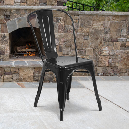 Our Commercial Grade Metal Indoor-Outdoor Stackable Chair is on sale now.