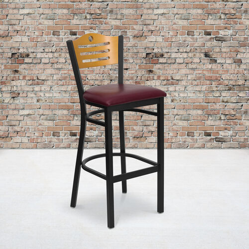 Our Black Slat Back Metal Restaurant Barstool with Natural Wood Back & Burgundy Vinyl Seat is on sale now.
