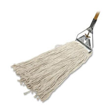 Genuine Joe Wet Mop - 4 -Ply - Wood Handle - 24 oz - Natural Cotton