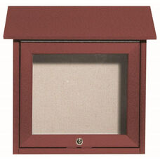 Rosewood Slimline Series Top Hinged Single Door Plastic Lumber Message Center with Vinyl Surface - 18