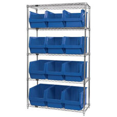 Wire Shelving Unit with 12 Magnum Bins - Blue