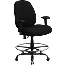 HERCULES Series Big & Tall 400 lb. Rated Black Fabric Ergonomic Drafting Chair with Adjustable Back Height and Arms