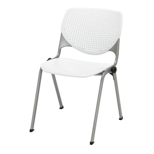 2300 KOOL Series Stacking Poly Armless Chair with Perforated Back and Silver Frame - White