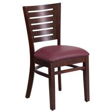 Walnut Finished Slat Back Wooden Restaurant Chair with Burgundy Vinyl Seat