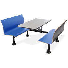 Retro Bench 30'' x 48'' Stainless Steel Top and Wall Frame - Blue Seats