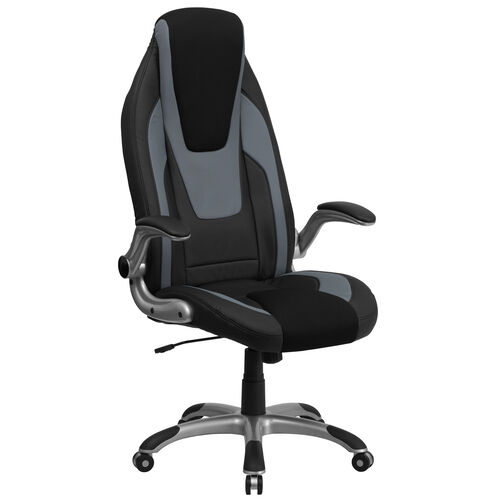 High Back Black and Gray Vinyl Executive Swivel Ergonomic Office Chair with Black Mesh Insets and Flip-Up Arms