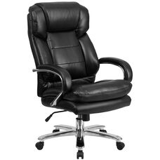 HERCULES Series 24/7 Intensive Use Big & Tall 500 lb. Rated Black Leather Swivel Ergonomic Office Chair with Loop Arms