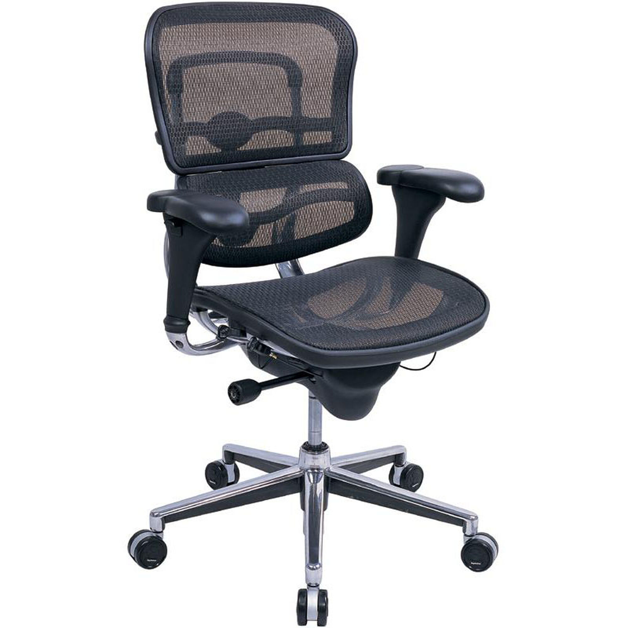 Ergohuman Series Mid Back 26 5 W X 29 D 39 H Adjule Height Mesh Office Chair Black