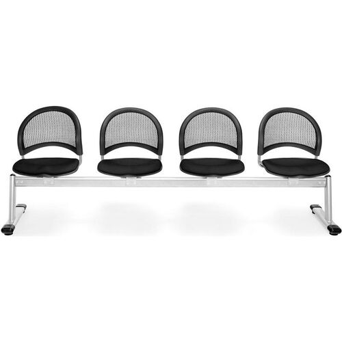 Moon 4-Beam Seating with 4 Fabric Seats - Black
