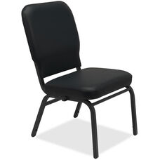 Lorell Black Vinyl Oversize Stacking Chair with 500lb Capacity - Set of 2
