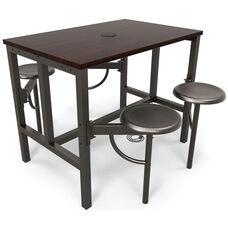 Endure Steel Frame Table with 4 Swivel Seats - Walnut Table Top and Dark Vein Seats