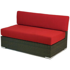 Crystal Beach Collection Outdoor Wicker Double Seat Armless Sofa with Sunbrella Cushions - Indo
