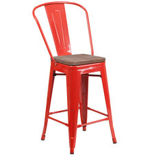 "24"" High Red Metal Counter Height Stool with Back and Wood Seat"