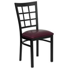 Black Window Back Metal Restaurant Chair with Burgundy Vinyl Seat