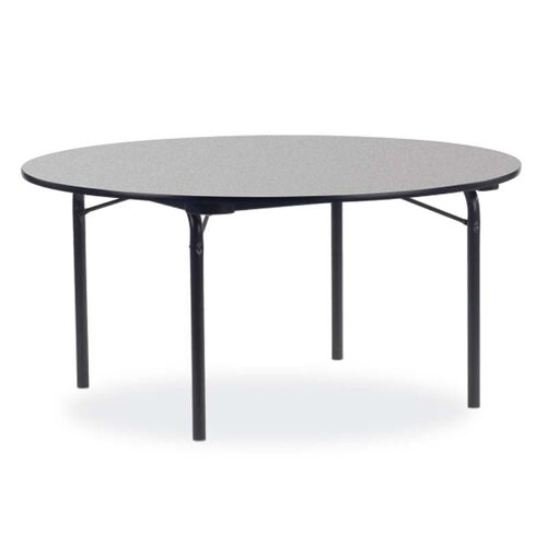 Our Quick Ship 6000 Series Traditional Round Folding Laminate Table with Gray Nebula Top and Black Frame - 60