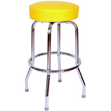 50's Retro Backless 30''H Swivel Bar Stool with Chrome Frame and Padded Seat - Yellow Vinyl