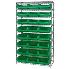 Wire Shelving Unit with 24 Magnum Bins - Green