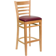 Natural Wood Finished Ladder Back Wooden Restaurant Barstool with Burgundy Vinyl Seat