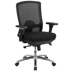 HERCULES Series 24/7 Intensive Use Big & Tall 350 lb. Rated Black Mesh Multifunction Swivel Chair with Synchro-Tilt