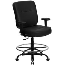 HERCULES Series Big & Tall 400 lb. Rated Black Leather Ergonomic Drafting Chair with Adjustable Arms