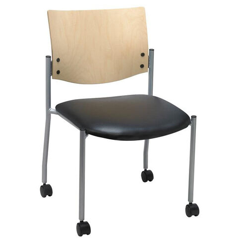 1300 Series Stacking Armless Guest Chair with Natural Wood Back and Casters - Vinyl Seat