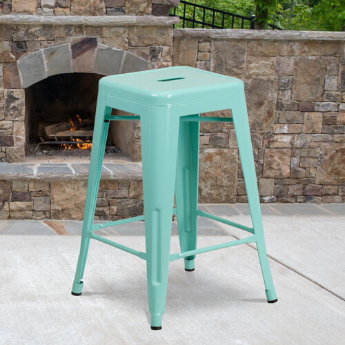 """Our Commercial Grade 24"""" High Backless Mint Green Indoor-Outdoor Counter Height Stool is on sale now."""