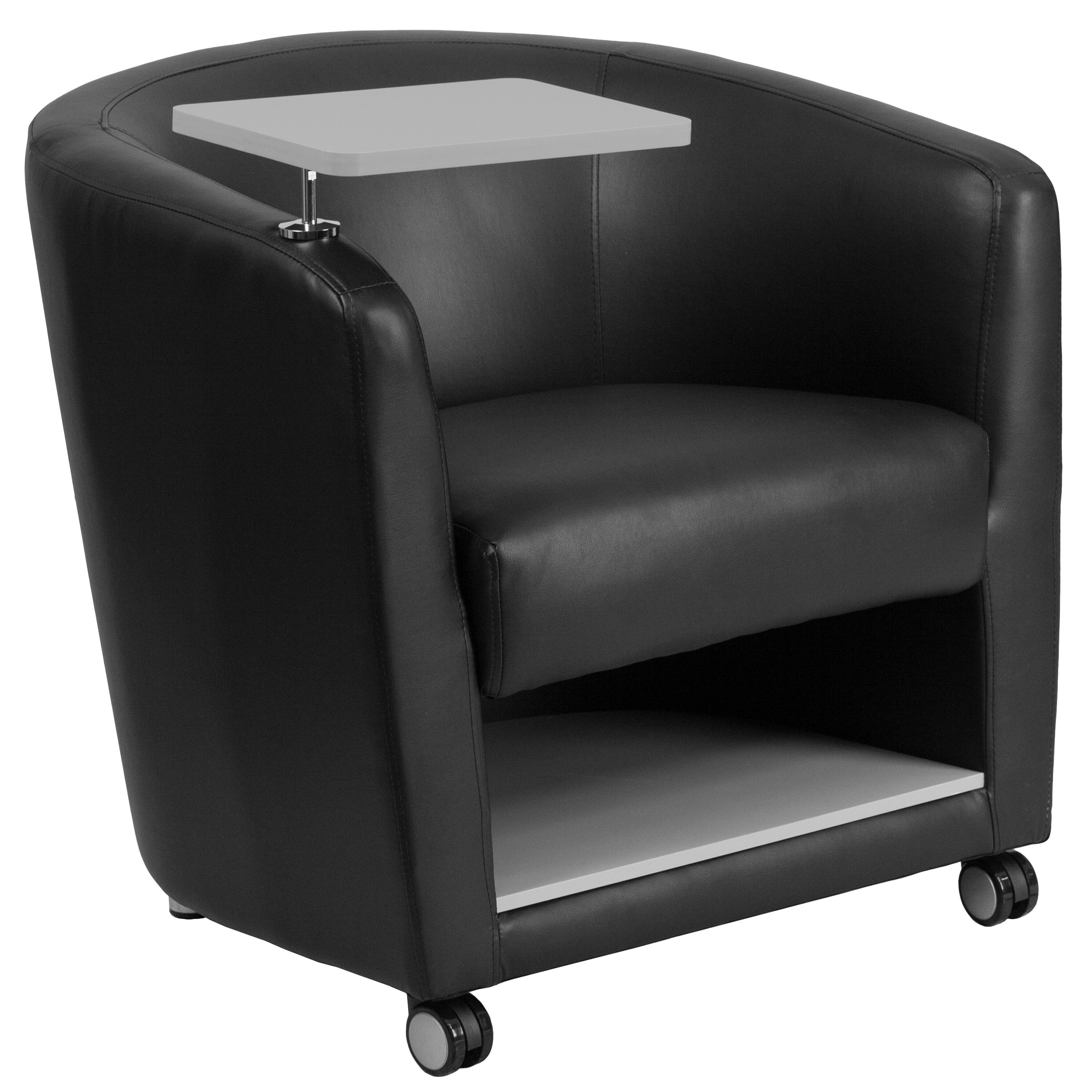 Beau ... Our Black Leather Guest Chair With Tablet Arm, Front Wheel Casters And  Under Seat Storage ...