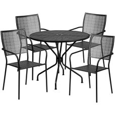"""Commercial Grade 35.25"""" Round Black Indoor-Outdoor Steel Patio Table Set with 4 Square Back Chairs"""